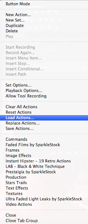 How to install load Photoshop Action step 5 load actions